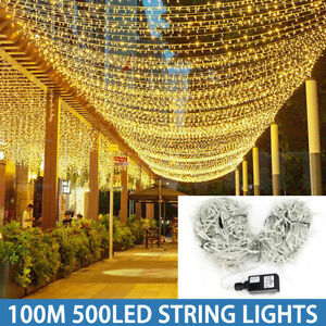 Mains Plug In 100M String Fairy Lights 100-500 LED Garden Christmas Tree Outdoor