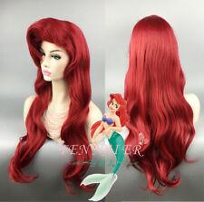 Little Mermaid Ariel Wig Dark Red 70cm Long Curly Wavy Hair Cosplay Wigs + Cap A