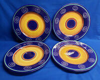 Set of 4 PIER 1 ITALIAN SWIRL Dinner Plates Hand painted Earthenware Italy