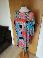 Ladies TU Dress Size 16 Stretch Tunic Black Blue Smart Casual Day Party Summer