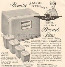 VTG 1950's Bread Box CANISTER SET Retro Kitchen PLASTEX Plastic Home Decor Ad