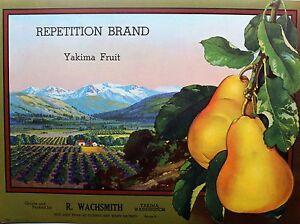 Repetition Brand Yakima Washington VTG Apple Label Original Fruit Crate Label