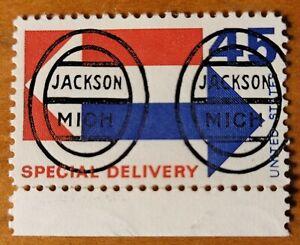 Michigan MI precancel E22- L-1E Jackson Oval 45c Special DLVY RARE Only 2 known!