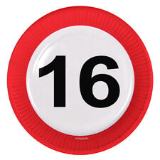 16TH BIRTHDAY PARTY 23cm PAPER PLATES AGE TRAFFIC SIGNS