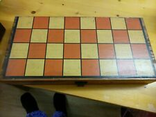 Pre loved and well used wooden draughts game in wooden hinged box