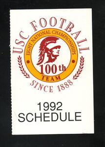 USC Trojans--1992 Football Pocket Schedule--100th Season Logo