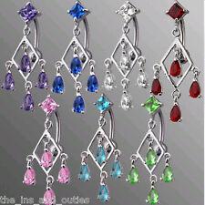 Reverse Rhodium Teardrop Gem Belly Ring Navel Blue,Green,Pink,Aqua,Red,Purple
