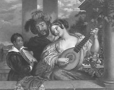 Man & Woman SING A DUET ~ Antique Art Print Engraving
