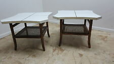 pair vintage mid century rattan brass inlay lamp end tables regency bamboo