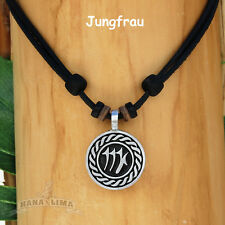 Necklace Surfer Chain Leather Mens Jewellery Zodiac Signs Animal Virgo