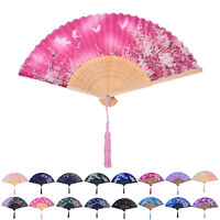 Chinese Hand Held Fan Bamboo Silk Butterfly & Flower Folding Fan Wedding o1w