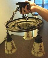 Metal Electric Antique Uranium Vaseline Custard Wall Ceiling Lamp Chandelier