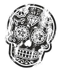 Distressed aged B&W Mexican Day Of The Dead SUGAR SKULL Tattoo vinyl car sticker