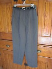 Briggs Grey Washable Poly Blend Dress/Career Pants w/Belt; Elastic Sides-10P EUC