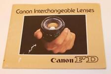 Canon Fd Interchangeable Lentille Liste Brochure 1982 Anglais E