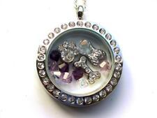 Dog 'Rainbow Bridge' pendant locket with charms & Purple Swarovski beads.