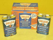 Vintage DELCO Special 19 WINDSHIELD WASHER SOLVENT 6oz 2 CANS & BOX Oil Can Sign