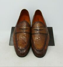 Magnanni Carlos Cognac Crocodile Loafers size 8 US (15965) 2620