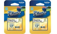 2 Packs - Brother P-Touch M-Tape 1/2 inch - BLACK on WHITE --  M-231