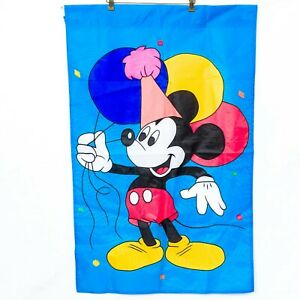 "Disney Mickey Mouse Celebration Garden Flag 28""x44"" Birthday Hat Balloons Blue"