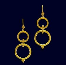 Minimalist Dangle Earrings 14k yellow gold over 925 Sterling Silver circle hook