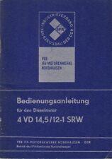Bedienungsanleitung Dieselmotor 4 VD 14,5/12-1 SRW + Motorplan im Schnitt, 1981