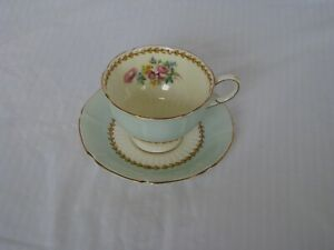 Vintage Paragon Double Warrant Tea Cup & Saucer 1940s Mint Green with Flowers