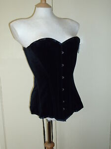 BNWT VOLLERS BLACK VELVET LONG VICTORIAN VAMP CORSET 28 in WAIST 12 TO 14