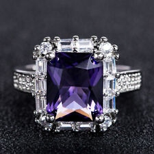 Gorgeous 925 Silver Princess Amethyst Rings Women Elegant Wedding Ring Size 9