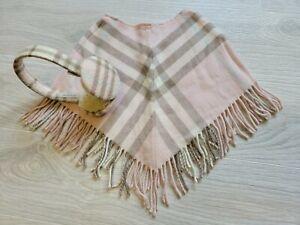 Authentic 2pcs BURBERRY Kids Poncho Girls Nova Check Wool Cashmere Earmuffs Pink