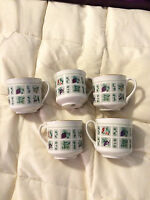 5 VINTAGE ENGLAND ROYAL DOULTON TAPESTRY THEME FINE CHINA TEA CUPS LOT SET