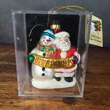 Designers Studio Handcrafted Blown Glass Santa and Snowman Christmas Ornament
