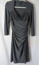 Ralph Lauren Dress Long Sleeve Ruched Faux Wrapped V Neckline Gray  Size 6 #7953