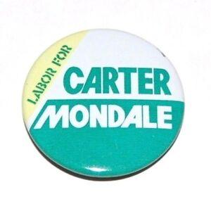 1976 JIMMY CARTER MONDALE LABOR campaign pin pinback button political president