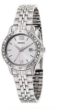 NWOT Women's Seiko SUR865 Stainless Crystal Accent Silver Quartz Dial Watch