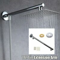16'' 40cm Rain Shower HEAD Arm Stainless Steel Extension Wall Mounted Pipe Tube