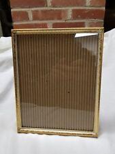 "Vintage Gold Tone Metal or Brass Picture Frame 8 x 10"" Velvet Back & Stand"