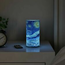 Scented Starry Night LED Candle Remote Timer Flickering Flameless Van Gogh Art