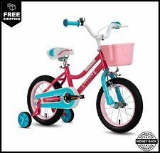 "CYCMOTO Girls Bike For 3-6 Years Child 14"" Kids Bicyle With Basket Hand Brake"