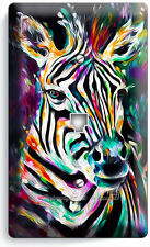 COLORFUL ZEBRA PHONE TELEPHONE WALL PLATE COVER ART PAINTING STUDIO ROOM DECOR