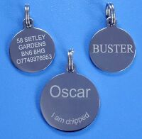 Stainless Steel Dog Tag, Pet ID Tag, Dog Disc, Personalised Engraved