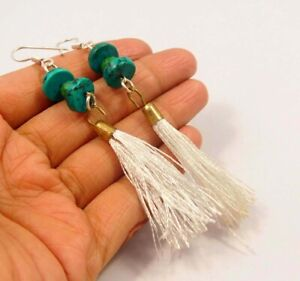 Turquoise With White Tassel Silver Plated Handmade Earring Jewelry C17