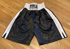 Title Black & White Satin Professional Boxing / MMA Shorts Trunks - Size M