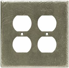 Double Duplex Outlet Wall Plate Rustic Distressed Pewter Brainerd 64726