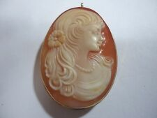 Hand Carved Lady Shell Cameo With 14k God Frame Pendant / Brooch