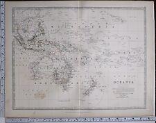 1881 GRANDE ANTICO MAPPA OCEANIA AUSTRALIA POLINESIA NUOVA zealnd NUOVA GUINEA
