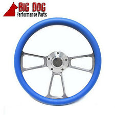 Boat Steering Wheel - Billet Aluminum  & Blue Half Wrap, Horn & Keyway Adapter
