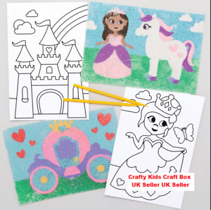 Sand Art Picture Craft Kits Kids Children Activity Crafts A5 Size 4 Pack Various