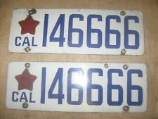 Antique vintage CA CALIFORNIA LICENSE PLATE PAIR matching 1919 porcelain star