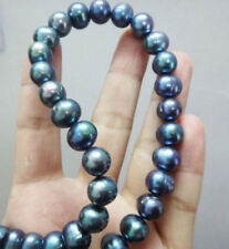 """baroque 20"""" 12-13 MM AAA SOUTH SEA Black blue PEARL NECKLACE 14K GOLD CLASP"""